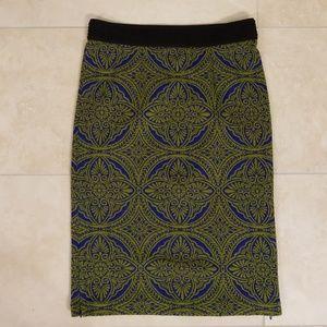 Cobalt Blue/Kelly Green Pencil Skirt, Size Small